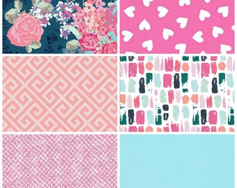 Peachy Love Fat Quarter Bundle - 6 prints