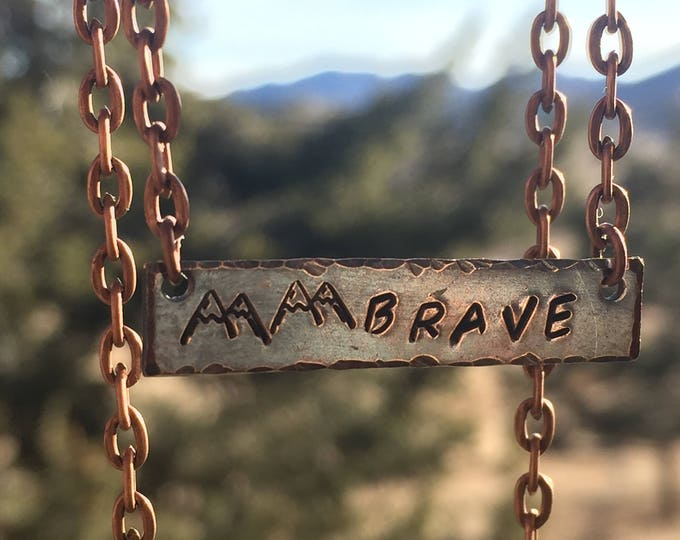 Copper Stamped Brave Mountain Necklace