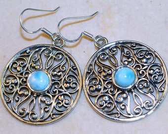 Stunning Larimar  set in Solid 925 Sterling Silver Earrings