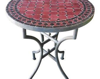 "24"" Black / Burgundy Moroccan Mosaic Table - CR4"