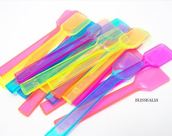 50 Mini Sample Spoons, Disposable Spatula, Gelato, applicator, Cosmetic spoons, Sampler, Lip-balm supplies, multicolored Bliss Balm