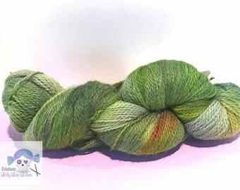 "Sock/fingering yarn dyed Merino/Alpaca/Nylon 50/25/25 color ""Spring Awakening"" green/red/yellow 100g 438 yards"