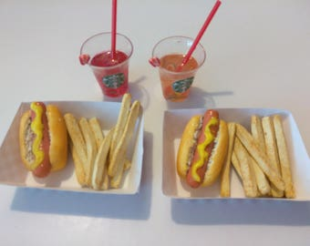 """Hot Dog fits American Girl Doll, AG Doll Food, Hot Dog for 18"""" Doll, Miniature Food"""