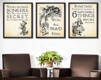 Alice in Wonderland Decor SET - Alice in Wonderland Wall Art Decorations - Mad Hatter Quotes Wonderland Party Decor - 0197