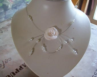 Pink White Pearl polymer clay white bridesmaid flower wedding bridal necklace bridesmaid ceremony evening parties