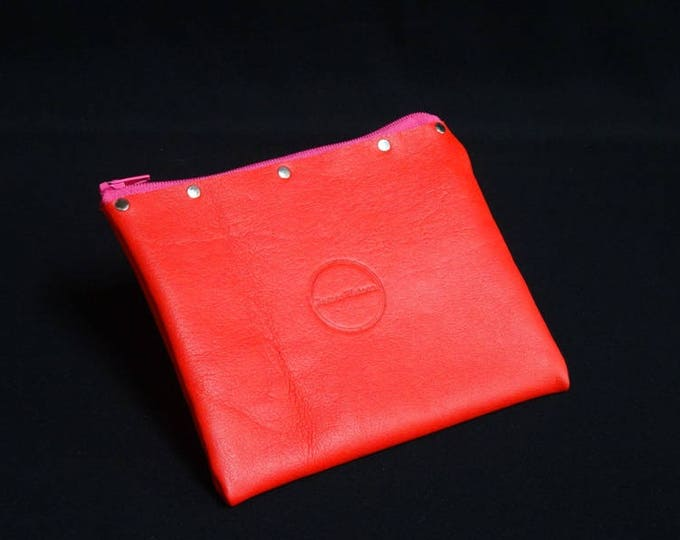 James Zip Purse - Red and Gloss White - Handmade Kangaroo Leather - James Watson