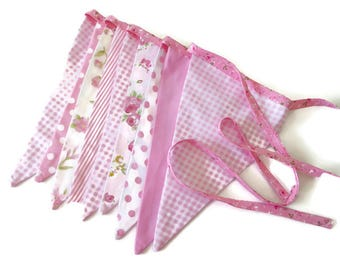 Shabby handmade pink flags bunting, mantle or room decoration, party decoration