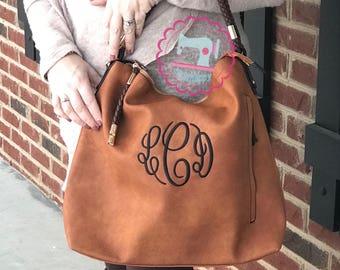 New Monogrammed Braided Hobo Purse, Monogrammed Purse, embroidered handbag, monogrammed handbag, embroidered purse,
