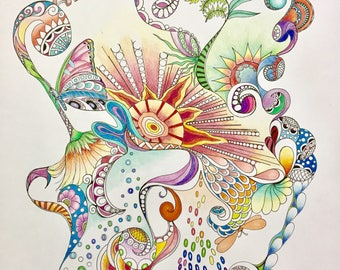 Zentangle abstract,abstract art,colored zentangle,colored abstract,zentangle art,ink colored pencils,wall art,wall decor