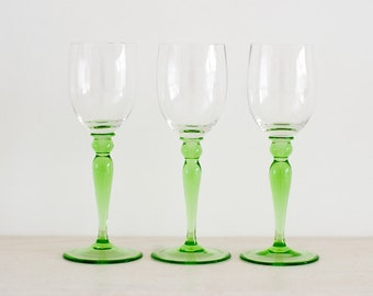 Vintage Sherry Glasses - Green Stem Retro Glasses