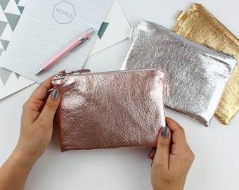 Metallic Leather Cosmetic Bag // Leather Bag, Leather Clutch Purse, Leather Makeup Bag, Bridal Bag, Big Leather Bag, Bridesmaids Bag