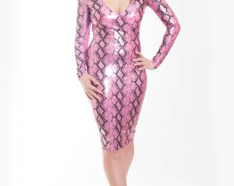 Black & Pink Snake Skin Long Sleeve V Neck Dress