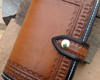 Tooled Leather Field Notes Journal Travel Wallet with Credit Card Pockets