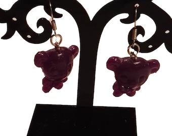 Purple bear earrings
