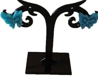 loop clear blue acrylic butterfly earrings