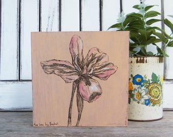 Botanical print, Wall decor, Office decor, Bedroom decor, Nature art, Iris flower print, Hipster room decor, Dorm decor, Wood signs