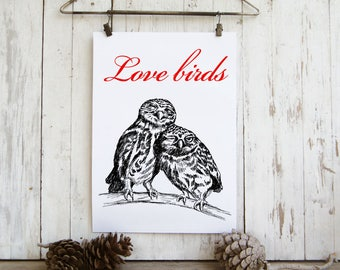 Quote prints - Love birds, Valentines gift, owls wall art, Hipster wall decor, Printable art, Quote poster, Black and red, Love