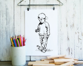 Kids room decor, Digital art, children printable, Black and white poster, Coloring pages, craft supply, Art print, Mothers day gift