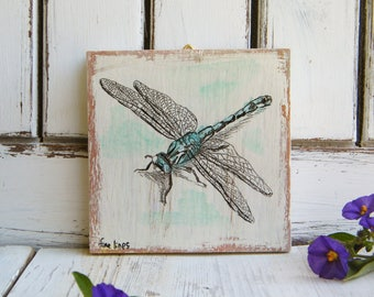 Dragonfly Wall Art, Dragonfly Gifts, Miniature picture, Cute Animals, Kids room decor, Wood sign, Nursery decor, Gift For Her, Gift Idea
