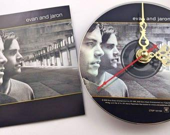 CD Clock Evan And Jaron Handmade Clock FREE U.S. SHIPPING Unique Birthday Present Gift