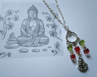 Necklace pendant silver metal Buddha, cubes are red and green gift wife zen Buddhism collection