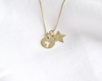 Gold plated necklace medal Cross and Star