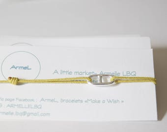mustard cord and genuine sterling silver Navy link bracelet