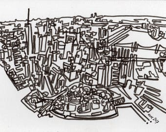 Lower Manhattan Line - PRINT - continuous line drawing