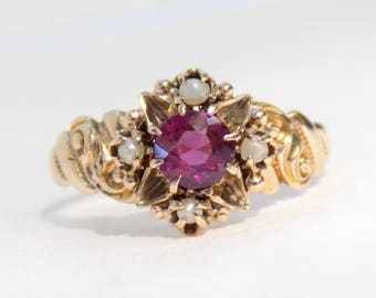 Antique Victorian 10k Pink Tourmaline Seed Pearl Yellow Gold Ring - J.R. Wood - Size 6.5