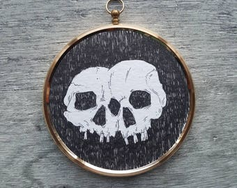 Framed Illustration, black and white print, Halloween decor, skulls, skull decor, illustration print, gothic art