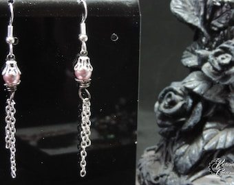 "Earrings ""Pearl One"" - Silver and soft pink"