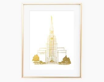 Illustrated Boston Massachusetts Temple Gold Foil Art Print