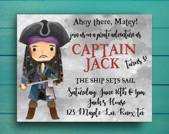 Pirates of the Caribbean Birthday Invitation, Jack Sparrow Birthday Invitation, Pirate Birthday Party
