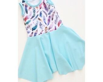Mint Feather Dress - Tank dress - Girls hooded dress - Summer tank dress - Girls jersey  dress - toddler tunic dress
