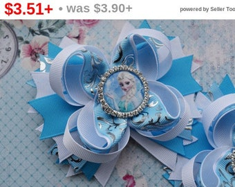 CHRISTMAS SALE Gift for girlfriend Birthday gift for her Frozen hair bow Elsa hair clip Girl party favour Boutique hair bow  Baby headban...