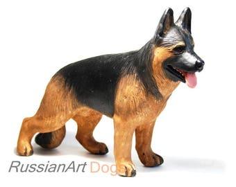 German Shepherd statue, figurine handmade of ceramic, statuette