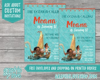 Personalized Moana Birthday Invitation, Any Age | 4x6 or 5x7, High Resolution Digital JPG or Printed, FREE US Shipping