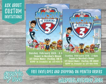 Paw Patrol Personalized Birthday Invitations | Any Age, 4x6 or 5x7, Digital File or Printed