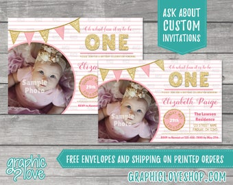 Fun to be ONE Princess Pink and Gold Personalized Invitation, Photo | 4x6 or 5x7, Digital File or Printed, Envelopes, FREE US Shipping