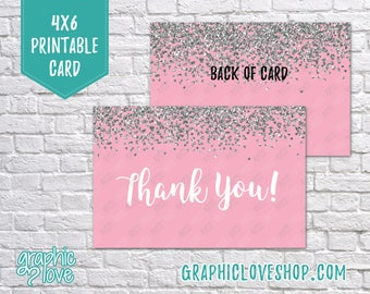 Printable 4x6 Pink Silver Glitter Thank You Card - Folded or Postcard | Digital High Resolution JPG File, Instant Download, NOT Editable