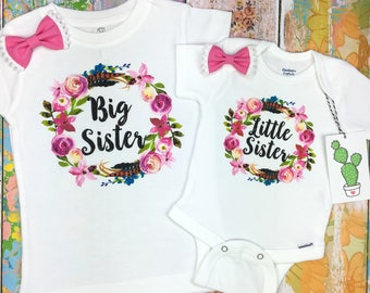 Matching Sister Outfits, Big Sister Little Sister, Big Sister Announcement, Sister Outfit, Newborn Little Sister, Baby Girl, Big Sister Gift