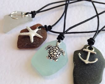 Black Leather Sea Glass Necklace with Sea Charm