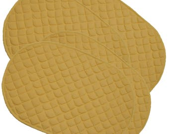 Set of 4  Kitchen Dining Yellow Quilted Placemats Mats Mat