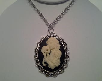 Lady with skull gothic cameo necklace