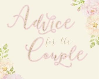 custom Advice for the Couple wedding sign to print