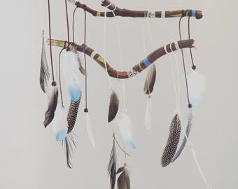 Enchanted Dreams - Feather Dreamcatcher Mobile -  White/Gold/Blue/Green