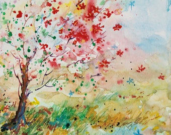 Cherry Blossom Painting - Cherry Tree painting - 8 x 10 in Art - ORIGINAL watercolor painting - Nature art - Wall Art - Art Collectibles