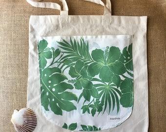 Hawaiian tote bag, Canvas tote with Hawaiian  fabric pocket