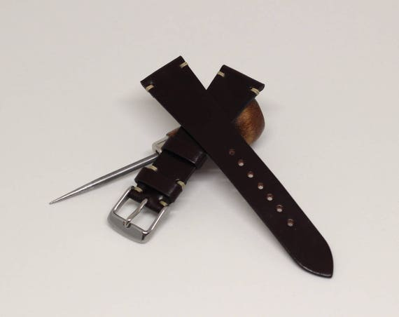 20/16mm Colour #8 Horween Shell Cordovan watch band - simple side stitch