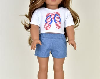 Graphic top 18 inch doll clothes 4th of July Flip Flops